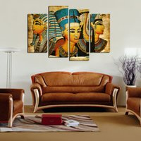 art pictures for living room - 4Pcs Egyptian Pharaoh Canvas Oil Painting for Living Room painted Modern Abstract Oil Painting On Canvas Wall Art Unframed No Frame