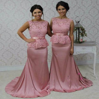 Wholesale 2016 New Mermaid Bateau Sleeveless Floor Length vestido de longo Lace Hot Pink Long Bridesmaid Dresses Silver Brides Maid Dresses BA3037
