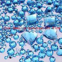 art element shape - Blue Mix size Mix Shape Acrylic Flat Back Rhinestone Gems Crystal and Beads Chaton Nail Art deco supplies