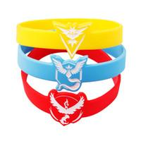 Wholesale 3 color Poke pocket monster bracelet Team Instinct Valor Mystic LOGO silicone bracelets wristband bangle cuffs Wrist Straps jewelry