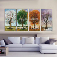 abstract painters - Top Skills Painter Handmade Abstract Four Season Trees Oil Painting On Canvas Spring Summer Fall And Winter Tree Oil Paintings