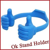 beautiful thumbs - Good Quality Ok Stand Cell Phone Holder Tablet PC Mount Ipad Bracket Plastic Holder Stand The Thumb Fashionable Desigh Beautiful Colors DHL