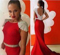 Cheap Red Dress Tarik Ediz Dresses Evening Robe De Soiree Cap Sleeve Mermaid Formal Prom Dresses Satin Beaded Backless Court Train Celebrity Dress