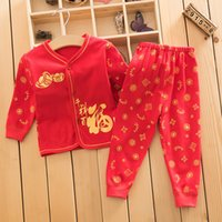 baby chinese new year clothes - Chinese New Year festive red cotton underwear set baby full moon year long johns new year old clothes suit dress