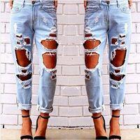 achat en gros de jean déchiré des femmes-2016 Fashion nouveau jeans pour les femmes vintage retrol boyfriend déchiré jean slim déchiré jeans dames sexy casual pantalon féminin