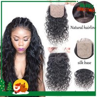 Cheap Brazilian Silk Base Closure Free 3 Middle Part Water Wave Silk Closure Wet and Wavy Virgin Human Hair 4x4 Silk Top Lace Closures