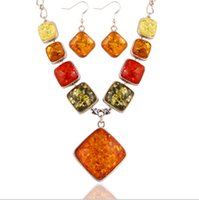 amber colored jewelry - Hot European and American luxury retro amber colored crystal necklace bright wild female hypoallergenic earrings Set Jewelry Set Favorites
