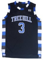 Wholesale Black Lucas Scott One Tree Hill Ravens Basketball Jersey Black S XL