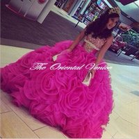 Wholesale Fuchsia Organza Ball Gown Quinceanera Dresses Sparkly Crystal Beaded Pageant Dress vestidos de anos Sweetheart Party Gowns