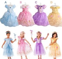 aurora costume - Newest Girls Party Dresses Kids Summer Princess Dresses for Girls Cinderella Rapunzel Aurora Belle Cosplay Costume Wedding Dresses