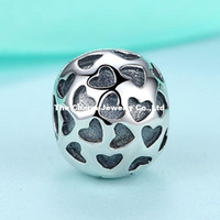 animal imprinting - 925 Sterling Silver Love Imprint Charm Silver Heart Big Hole Loose Beads Fits Pandora Bracelets For Diy European Necklace