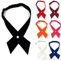 Wholesale 2016 New Crossover bowties colors Solid Color Cross bow tie for boy girl neckties Christmas Gift Free FedEx TNT