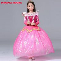aurora costume - New Baby Girls Dress Cinderella Dresses Children Sleeping Beauty Princess Dresses Rapunzel Aurora Kids Party Costume Clothing