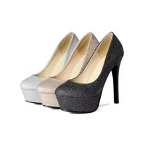 Wholesale Fashion Women s Platform High Heel Synthetic Leather Pumps Sexy Round Toe Shoes S282 US Size