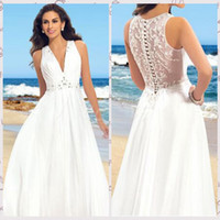Wholesale Super Plus Size Wedding Gowns - Attractive Chiffon A-line Beach Wedding Dresses Super-sexy V-neck Pleats with Wholeback of Beaded Lace Appliques on Waist Bridal Gowns SH04