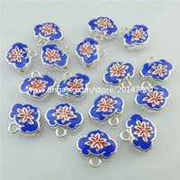 Wholesale 18546 Silver Enamel Blue Lock Spacer Beads Mini Dangle Pendant Charms