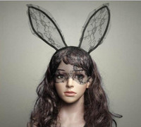 adult rabbit mask - Cosplay Face Eye lace Veil Mask Headband rabbit bunny long ear hairband Halloween Christmas party fancy dress ball Masquerade props new gift