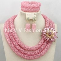 baby earrings garnet - 2016 baby pink Party crystal Beads African Jewelry Set K Gold Plated Bridal Costume Fashion Necklace Set for Women
