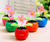 Wholesale New Arrival Home Car Interior Decorations Novelty Solar Apple Flower with Dancing Waving Gift colors Free ship