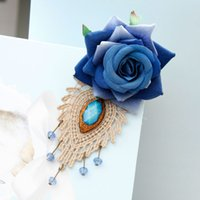adorn artificial flowers - 10pcs Blue demon ji flower bud silk artificial crystal first adorn article kinds of handmade cloth art brooch buckle design is optional