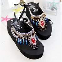Wholesale Beach shoes summer diamante Wedge slippers Flip Flops original slippers Europe and the United States big yards