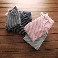 Wholesale Cotton trousers striped and plush casual pants for children kids girls boys baby clothing colors autumn new arrival