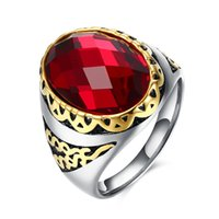 Wholesale 2016 NEW Fine Ring Red Glass Inlayed Ring Creative Patterns Titanium Steel Rings for Men SiZ