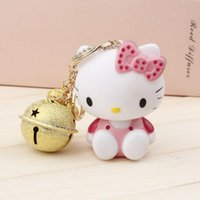 bell animal lover - NEW DESIGN HELLO KITTY EXTREMELY CUTE KEYCHAIN WITH TINY BELLS KEYRING FOR BAG CHARMS CAR PENDANTS NOVELTY PRODUCT GREAT GIFT