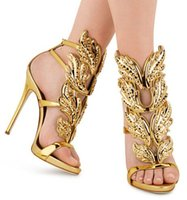 Wholesale Newest Design Luxury women leaves pumps gold Summer sandals polished leaf Winged Sandalias band Ankle Strap Gladiator Shoes