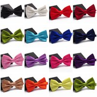 Wholesale Bowtie Men s Women s Unisex Fashion Solid Colors Plain Silk Polyester Neckwear Formal Commercial Adjustable Wedding Tuxedo Party Bow Ties