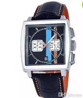 belt buckles suppliers - sponsored supplier New brand watches men monaco quartz chronograph watch color flag original bracelet leather belts Watch Men dress Watches