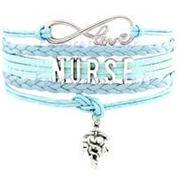 best nurses - Custom Infinity Love Nurse Bracelet RN LPN LVN CNA BSN Wax Cord Wrap Braided Leather Adjustable Bangles Best Gift For Nurse Drop Shipping