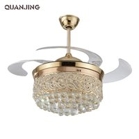 Wholesale Lighting Crystal Ceiling Fan Led Light Folding Indoor Restaurant Modern Minimalist European Fashion Fans With Controler inch