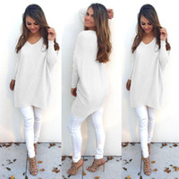 Wholesale In The Latest European And American Fashion Autumn V neck Long sleeved Women Thin Sweater