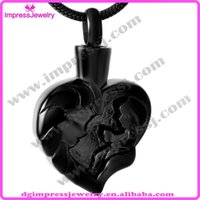 baby memorial - IJD9463 Black Plating Cremation Urns Necklace for Ashes Memorial Keepsake Mom Baby Love Heart Pendant Jewelry