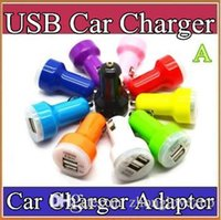 Wholesale 1000X Candy dual usb car charger Auto Charger Adapter for iPod iPhone s s plus Samsung HTC iPod iPad Blue LED Candy Color M SC
