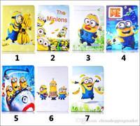 Wholesale Despicable Me Minions Cartoon Leather fold Stand leather cover Case for iPad Mini for ipad air ipad mini