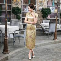 al por mayor faldas de satén amarillo-AMARILLO Encanto Chino Plum flor de las mujeres hechas a mano de raso de seda LONG Vestido casual Cheong-sam vestido falda S-6XL