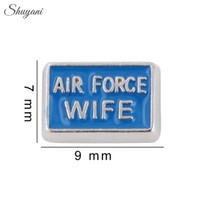 air force pendants - Enamel Air Force Wife Charms Pendant for Bracelet DIY Jewelry Floating Locket Charms for Locket Necklaces Silver Plated