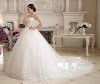 Wholesale Korean Ladies Images - Korean Bride Diamond Bra Lady Tail Wedding 2016 Hot Sale Sweetange Korean Style Sweet Romantic Lace Princess Wedding Dress