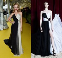 ankle bones pictures - 2016 New Black and White Zuhair Murad Little V neck Celebrity Dresses Ruched Chiffon A line High Slit Floor Length Evening Gowns