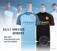 Wholesale Men s Best Thailand Quality Manchester Soccer Jersey Home Blue Away Black KUN AGUERO SANE GUNDOGAN etc Soccer Jerseys