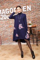 asymmetrical sweaters - 2016 autumn women s luxury sweater V neck asymmetrical long dresses for womens knee Length Floral embordery classic knitted dresses