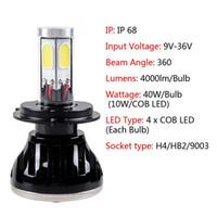 Wholesale High Power High Low Beam LED H4 W COB Bi xenon Headlamp Car led DC V V Car Automotive Vehicle Headlight Fog Light