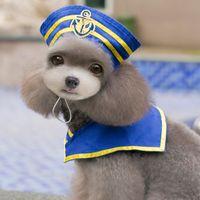 2016 Nueva llegada del resorte y del verano S-L tricolor del perro de perrito Capa Contener casual con sombrero Suministros para mascotas Capa Ropa