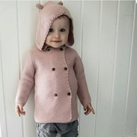 Wholesale Kids Cute Hooded Knit Coats Autumn Solid Children Lace Sweater Outwear Double Breasted Clothes For Y