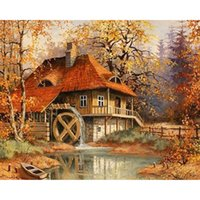 autumn wallpaper pictures - Diy Diamond Painting home decor Full embroidery Autumn house d diamonds cute wall picture wallpaper X75CM HWI