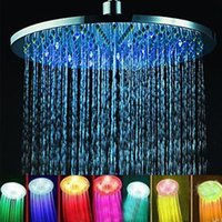 Wholesale 7 Colors Automatic Changing quot Round Bathroom LED Light Rain Top Shower Head