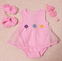 Precio de Bandas para la cabeza de encaje blanco para bebés-la ropa del verano del bebé recién nacido establece diadema + tutu zapatos romper + cordón de la flor del boutique de trajes de bebé de algodón al por mayor de la ropa blanca y rosa