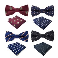 Wholesale Men Paisley Design Bow Tie BowTie Pocket Square Handkerchief Hanky Suit Set Color For Choose